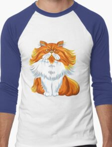 Cute red fluffy Persian cat  Men's Baseball ¾ T-Shirt