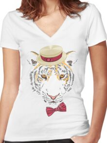 Hipster amur tiger Women's Fitted V-Neck T-Shirt