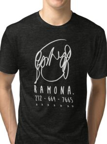 ♥♥♥ SCOTT PILGRIM RAMONA FLOWERS - DO YOU KNOW THIS ONE GIRL WITH HAIR LIKE THIS? VER2 WHITE ♥♥♥ Tri-blend T-Shirt