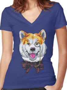 Funny cartoon hipster dog Akita Inu Women's Fitted V-Neck T-Shirt