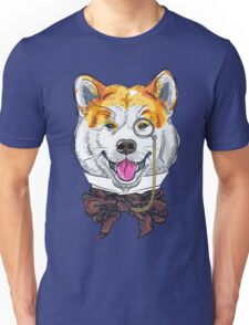 Funny cartoon hipster dog Akita Inu Unisex T-Shirt