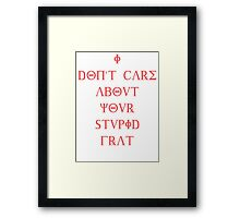 I don't care about your stupid frat - pink Framed Print