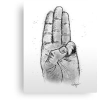 Hand Sketched Three Finger Salute (Black) Canvas Print