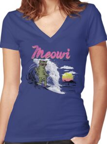 Meowi Women's Fitted V-Neck T-Shirt