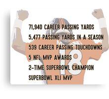 Peyton Manning Statistics Retirement Canvas Print
