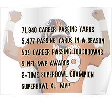 Peyton Manning Statistics Retirement Poster