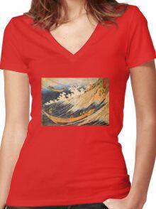 'Ocean Landscape 2' by Katsushika Hokusai (Reproduction) Women's Fitted V-Neck T-Shirt