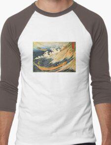 'Ocean Landscape 2' by Katsushika Hokusai (Reproduction) Men's Baseball ¾ T-Shirt