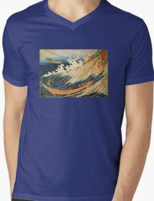 'Ocean Landscape 2' by Katsushika Hokusai (Reproduction) Mens V-Neck T-Shirt