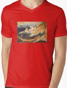 'Ocean Landscape 2' by Katsushika Hokusai (Reproduction) Mens V-Neck T-Shirt