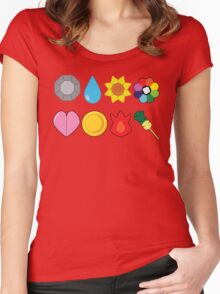 Kanto Gym Badges Women's Fitted Scoop T-Shirt