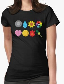 Kanto Gym Badges Womens Fitted T-Shirt