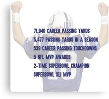 Peyton Manning Statistics Retirement Colts Canvas Print