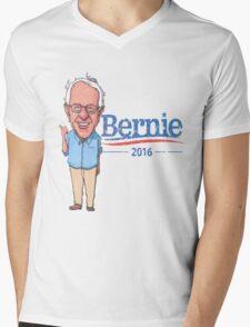 Bernie Sanders Cartoon Vintage Burnout Graphic Democratic Socialism Funny Feel The Bern Mens V-Neck T-Shirt