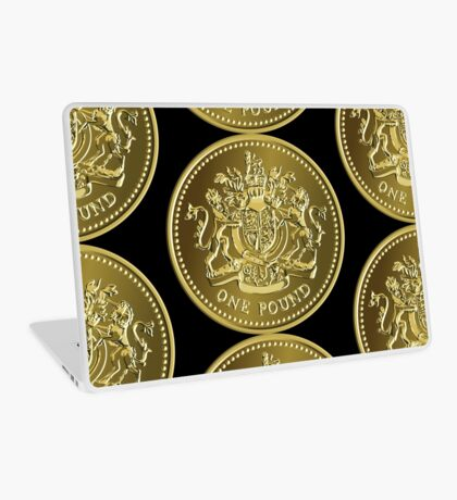 British money gold coin one pound Laptop Skin