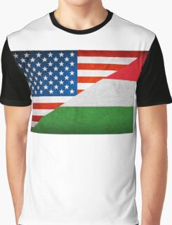 Half Hungarian Half American Flag Graphic T-Shirt