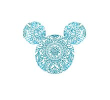 Blue Mickey Head Photographic Print