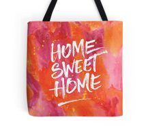 Home Sweet Home Handpainted Abstract Watercolor Orange Pink Yellow Tote Bag