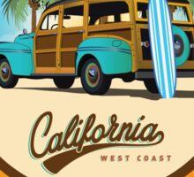 Woody Gone Surfing California Sticker