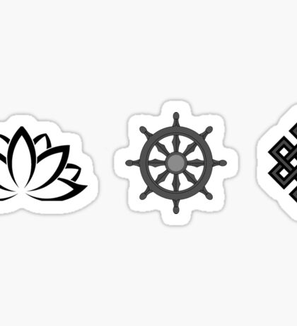 Lotus Flower, Dharma Wheel, and Endless Knot Sticker