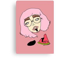 hipster girl with watermelon  Canvas Print