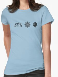 Lotus Flower, Dharma Wheel, and Endless Knot Womens Fitted T-Shirt