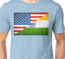 Half Indian Half American Flag Unisex T-Shirt