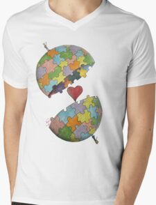 Pint Size Planet (Puzzle) Mens V-Neck T-Shirt