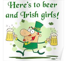 Leprechaun Irish Girls and Beer Poster