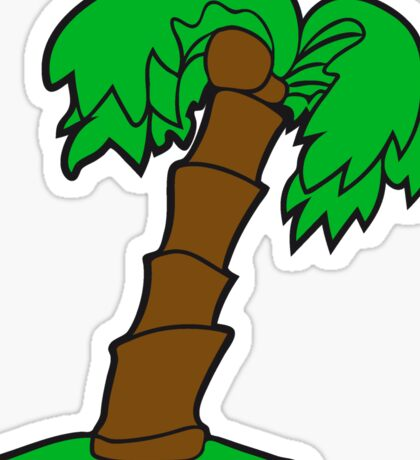 palm comic cartoon lonely tree coconuts Sticker