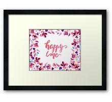Happy Me Watercolor Brush Lettering Flowers Framed Print