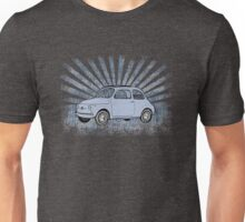 Fiat 500 Topolino with Blue Sunburst Unisex T-Shirt