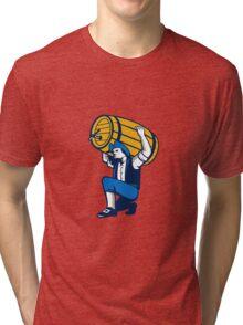 American Patriot Lifting Beer Keg Isolated Retro Tri-blend T-Shirt