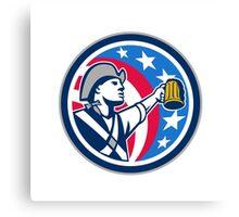 American Patriot Craft Beer Mug USA Flag Circle Retro Canvas Print