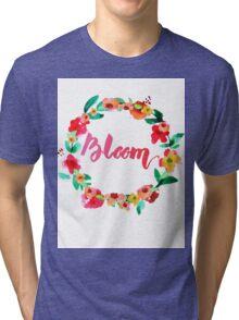 Bloom Watercolor Brush Lettering Flowers Tri-blend T-Shirt