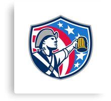 American Patriot Craft Beer Mug USA Flag Crest Retro Canvas Print