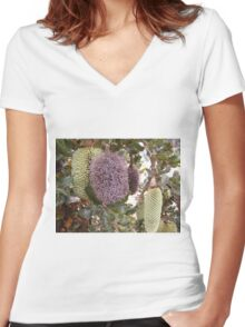 Three stages of the Banksia Caleyi flower. Adelaide Hills.  Women's Fitted V-Neck T-Shirt