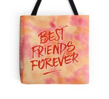 Best Friends Forever Handpainted Abstract Watercolor Pink Orange Tote Bag