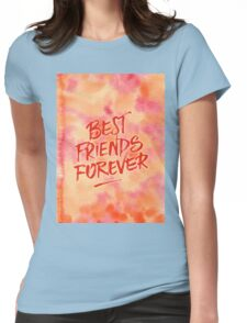 Best Friends Forever Handpainted Abstract Watercolor Pink Orange Womens Fitted T-Shirt