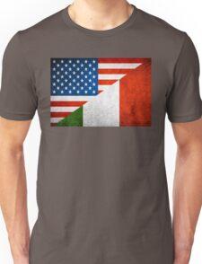 Half Italian Half American Flag Unisex T-Shirt