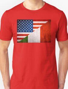 Half Italian Half American Flag T-Shirt