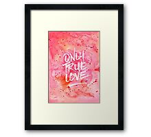 Only True Love Handpainted Abstract Watercolor Red Pink Orange Framed Print
