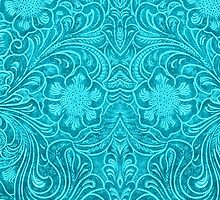 Turquoise Leather Texture Look-Embossed Floral Design by artonwear