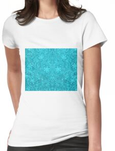 Turquoise Leather Texture Look-Embossed Floral Design Womens Fitted T-Shirt