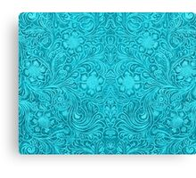 Turquoise Leather Texture Look-Embossed Floral Design Canvas Print
