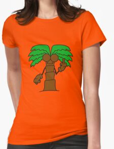 comic cartoon palm small sweet cute coconuts evil stinkefinger wichser middle finger insult mad angry public hand Womens Fitted T-Shirt