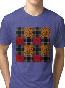 Ornamental pattern patchwork design print with tiger skin elements Tri-blend T-Shirt