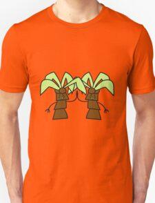 comic cartoon palm small sweet cute coconuts greet tree face buddies team couple Unisex T-Shirt