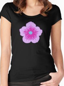 Pink and Blue Flower Women's Fitted Scoop T-Shirt
