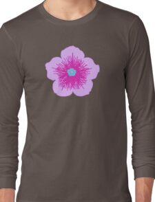 Pink and Blue Flower Long Sleeve T-Shirt